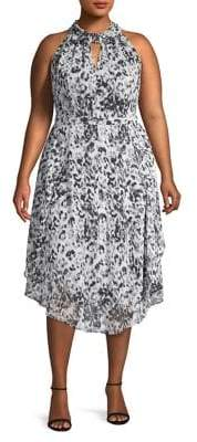 Rachel Roy Plus Printed Chiffon Midi Dress