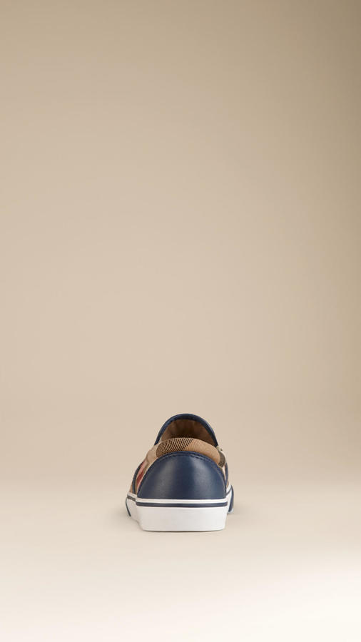 Burberry House Check Cotton Slip-On Trainers