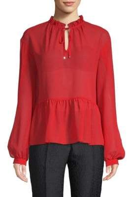 Laundry by Shelli Segal Chiffon Tie-Front Top