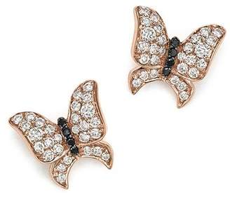Bloomingdale's White and Black Diamond Butterfly Stud Earrings in 14K Rose Gold