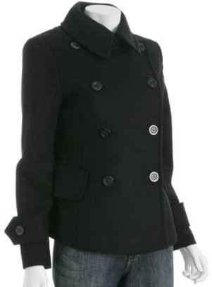 MICHAEL Michael Kors Michael Michael Kors black wool double breasted peacoat