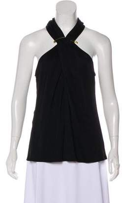Halston Sleeveless Crossover Top