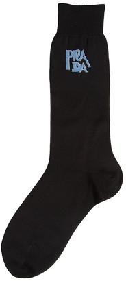 Prada Logo Intarsia Fine Knit Socks