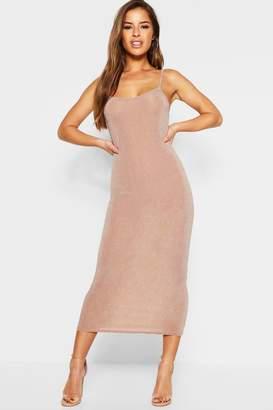 boohoo Petite Glitter Strappy Midaxi Dress