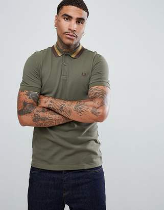 Fred Perry bold tipped pique polo in light khaki