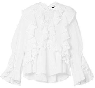 Isabel Marant Zim Ruffled Broderie Anglaise Cotton Blouse - White
