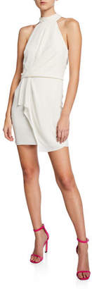 Halston Turtleneck Sleeveless Mini Dress with Drape Front Detail