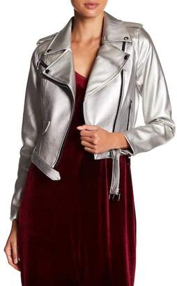Romeo & Juliet Couture Metallic Faux Leather Jacket