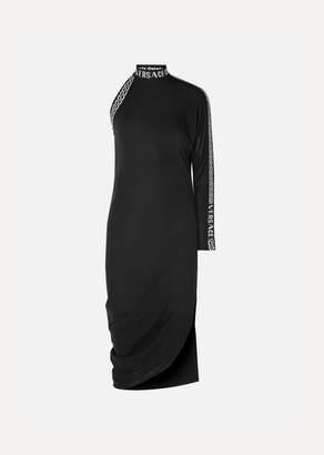Versace One-sleeve Intarsia Jersey Midi Dress - Black