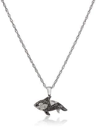 Sterling Silver Black and White Diamond Whale Pendant Necklace