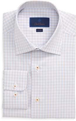 David Donahue Trim Fit Tattersall Plaid Dress Shirt
