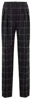 HUGO BOSS Gallery Collection wide-leg trousers in a checked wool blend