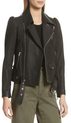 A.L.C. Calix Puff Shoulder Leather Moto Jacket