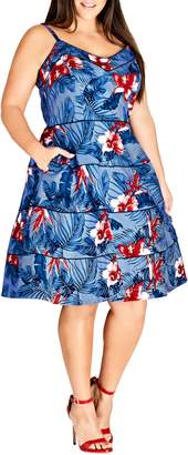 City Chic Love Hawaii Fit & Flare Dress