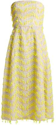 Carolina Herrera Embroidered Semi Sheer Organza Dress - Womens - Yellow Multi