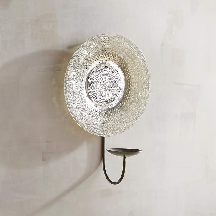 Large Glass Plate Pillar Candle Holder Wall Sconce