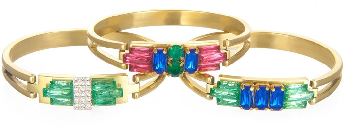 Charm & Chain Sandy Hyun Colored Crystal Bangle, Assorted Colors