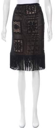 Charles Chang-Lima Fringe-Trimmed Lace Skirt