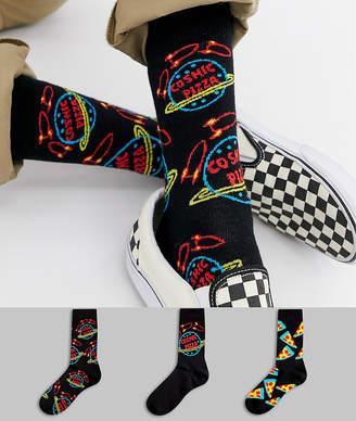 Asos Design DESIGN socks in black with cosmic pizza 3 pack
