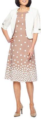MAYA BROOKE Maya Brooke Sleeveless Embellished Jacket Dress