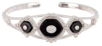 Judith Ripka Sterling Silver Westport Triple Stone Cuff Bracelet