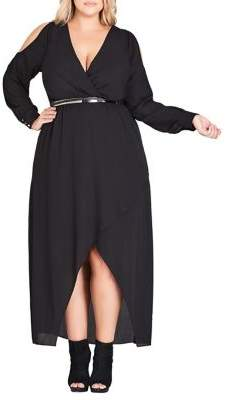 City Chic Plus Sinister Belted Maxi Dress