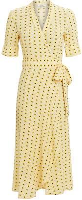 Ganni Maize Crepe Wrap Dress
