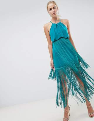 Asos DESIGN strappy back fringe maxi dress