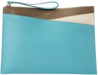 Furla Blue Leather Clutch Bag