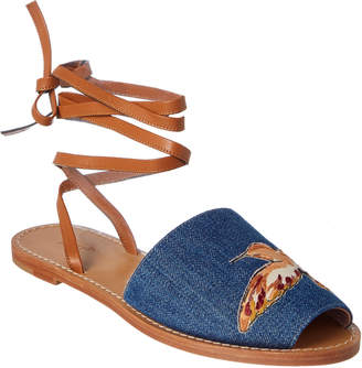 RED Valentino Denim Embroidered Flat Sandal