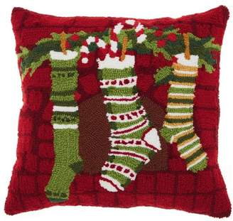 Nourison Mina Victory Home For The Holiday Christmas Stockings Multicolor Throw Pillow