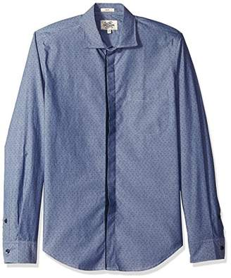 Casual Terrains Men's Tailored Slim-Fit Vintage Contrast Hidden Placket Shirt .