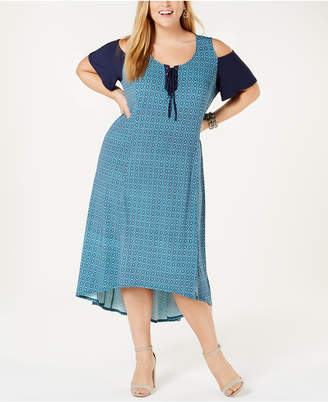 NY Collection Plus Plus Size Cold-Shoulder Dress