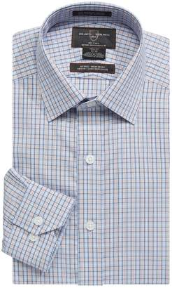 Black Brown 1826 Long-Sleeve Fitted Graph Check Dress Shirt