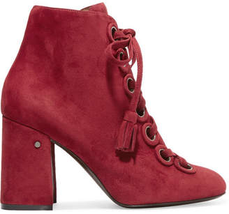 Laurence Dacade - Paddle Lace-up Suede Ankle Boots - Burgundy $970 thestylecure.com