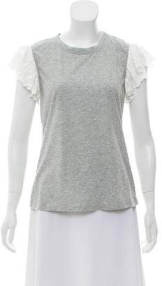 Rebecca Taylor Samira Lace-Trimmed Short Sleeve Top w/ Tags