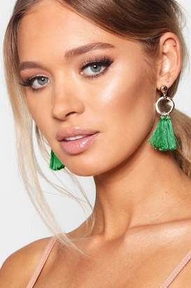 boohoo Hammered Hoop Tassel Earrings