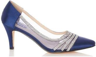 Dorothy Perkins Womens *Quiz Navy Satin Point Court Shoes