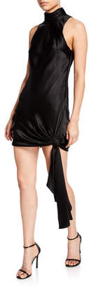 Cinq à Sept Denise Turtleneck Mini Tie-Hem Satin Dress