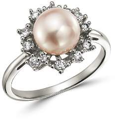 Bloomingdale's Diamond & Cultured Freshwater Pearl Ring in 14K White Gold - 100% Exclusive