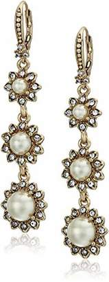 Marchesa Women's Cream Silk Linear Drop Earrings