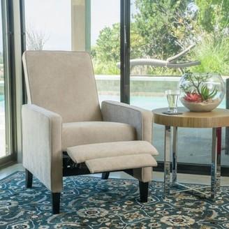 Noble House Arden Modern Contemporary Fabric Recliner, Natural Linen