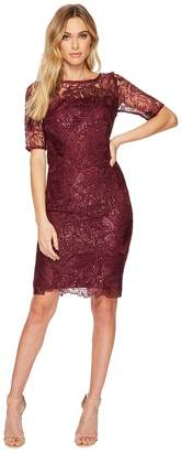Adrianna Papell Short Sequin Embroidered Cocktail Dress with 3/4 Sleeve Women's Dress