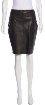 Akris Leather Knee-Length Skirt