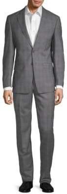 Calvin Klein Windowpane Plaid Wool Suit