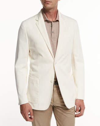 Ermenegildo Zegna Soft Stretch-Cotton Sport Jacket, Light Beige