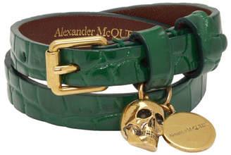 Alexander McQueen Green Croc Double Wrap Skull Bracelet