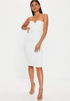 Missguided White Foldover Bandeau Midi Dress