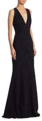 Carmen Marc Valvo Silk Beaded V-Neck Gown