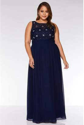 Quiz Curve Navy Chiffon Embroidered High Neck Maxi Dress